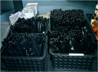 Boxes of teaspoons, soup spoons, knives and forks